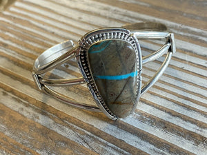 Navajo Ribbon Turquoise & Sterling Silver Cuff Bracelet Signed