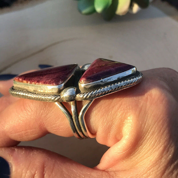 Navajo Purple Spiny Oyster & Sterling Silver Ring Size 8.5 Signed & Stamped