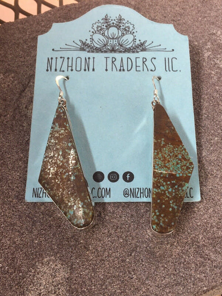 Navajo Sterling Silver & Turquoise Dangle Earrings
