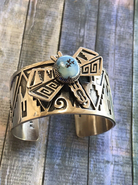 Navajo Sterling Silver & Golden Hills Turquoise Dragonfly Cuff  Bracelet