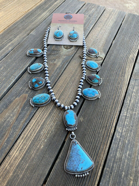 Stunning Navajo Sterling Silver Royston Turquoise Necklace & EarrIng Set