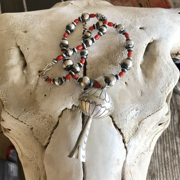 Navajo Sterling Silver Blossom & Natural Red Coral Pendant Necklace