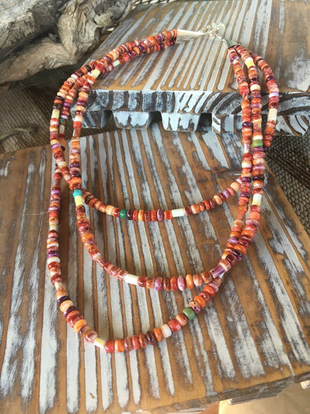 Navajo Spiny Oyster, Turquoise, & Sterling Silver 3 Stranded Beaded Necklace