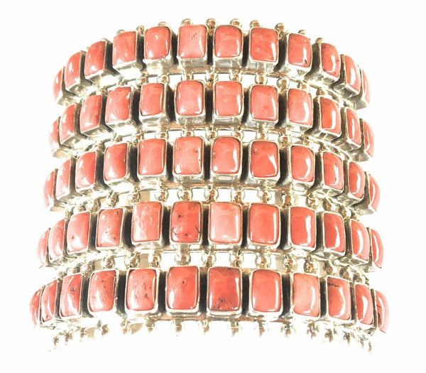 Navajo Natural Coral & Sterling Silver Cuff Bracelet By Paul Livingston