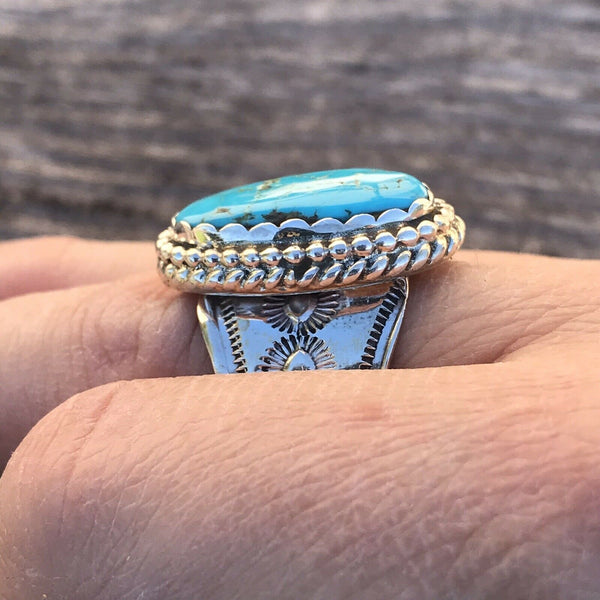 Navajo Sterling Silver & Turquoise Ring Size 7.5