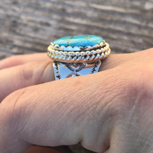 Navajo Sterling Silver & Turquoise Ring Size 7