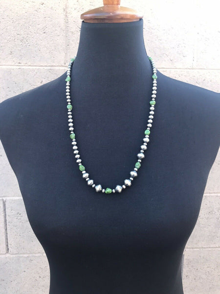 Navajo Sterling Silver Green Turquoise Beaded Necklace