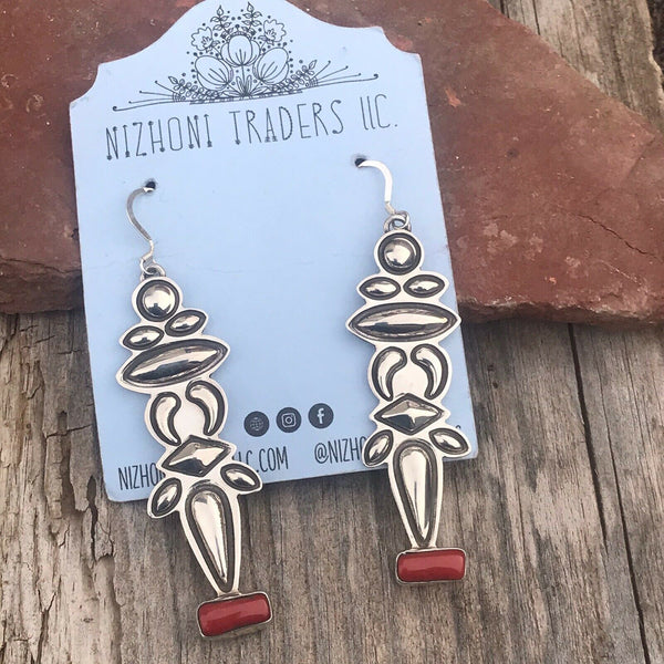 Navajo Sterling Silver & Coral Dangle Earrings