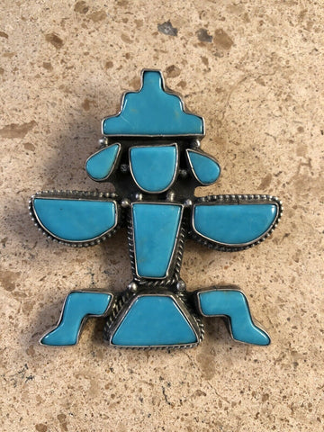Vintage Sterling Silver & Turquoise Kachina Pin/Pendant Signed