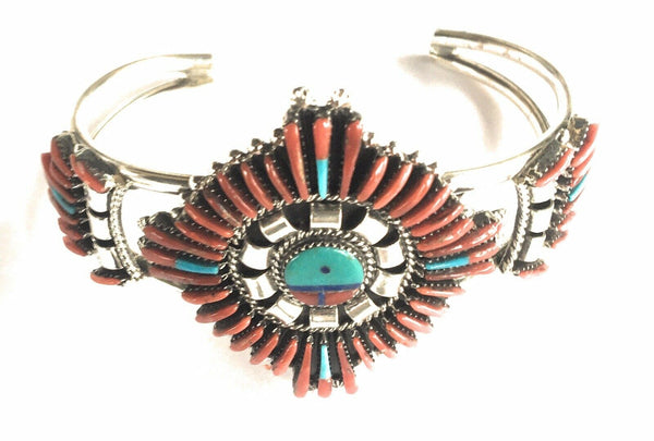 Zuni Turquoise & Natural Red Coral Sterling Silver Sun Face Cuff Bracelet Signed