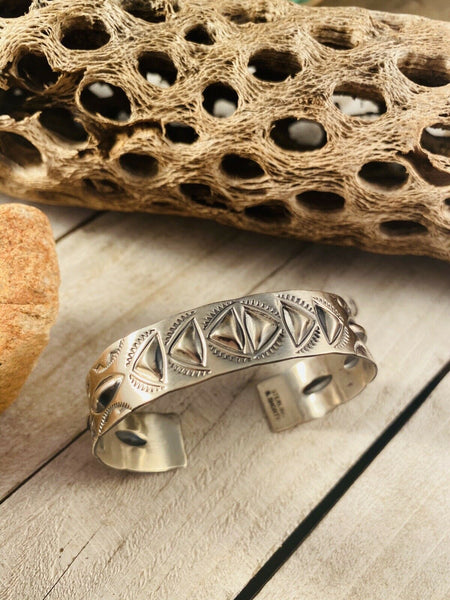 Navajo Hand Stamped Sterling Cuff Bracelet Signed
