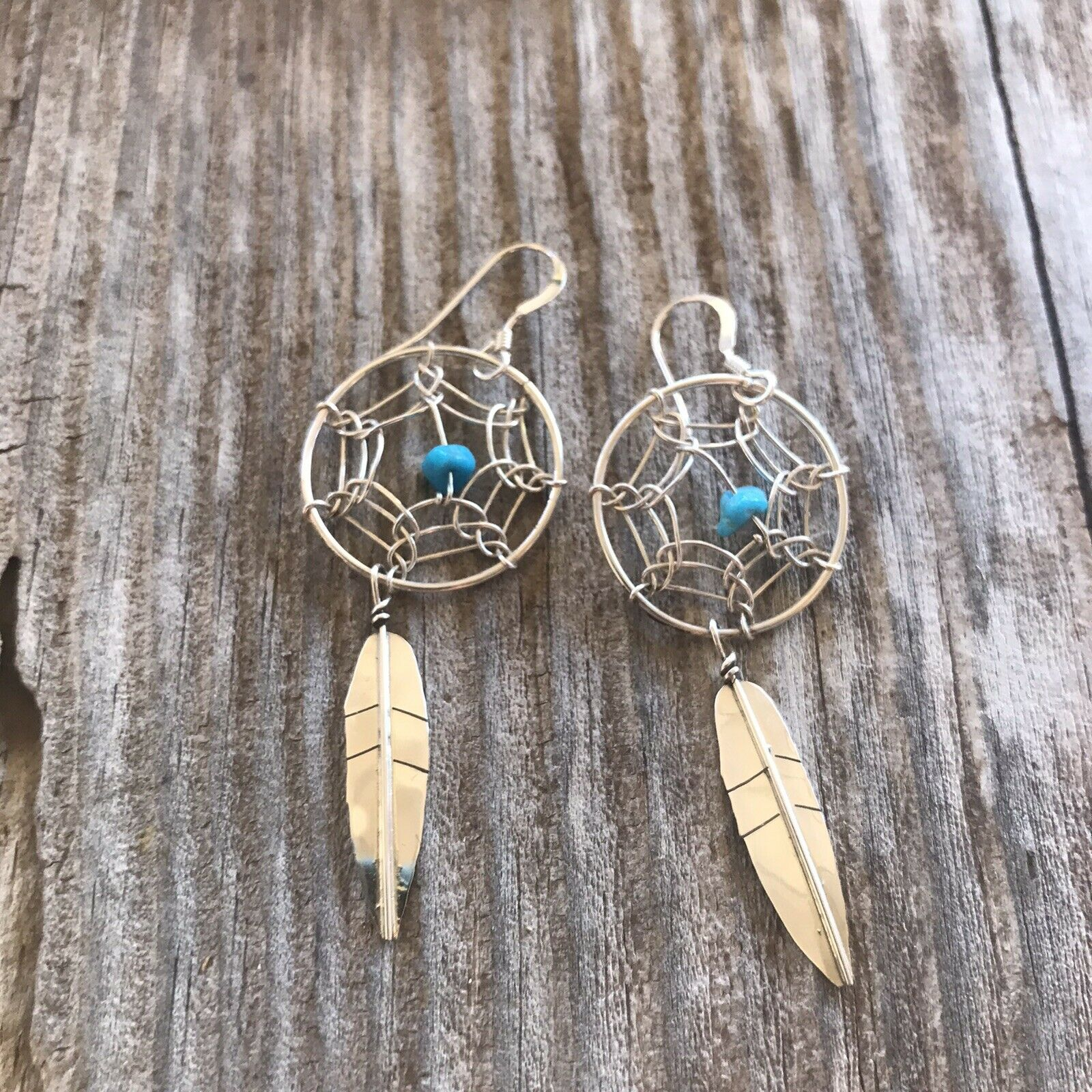 Navajo  Sterling Silver & Turquoise Dream Catcher, Dangle  Earrings