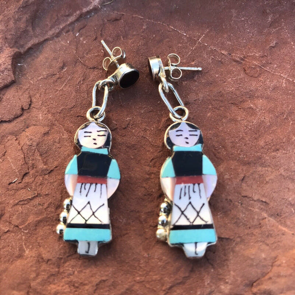 Navajo Sterling Silver & Multi Stone People Dangle Earrings