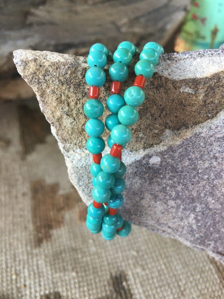 Navajo Sterling Silver And Turquoise Beaded Bracelet