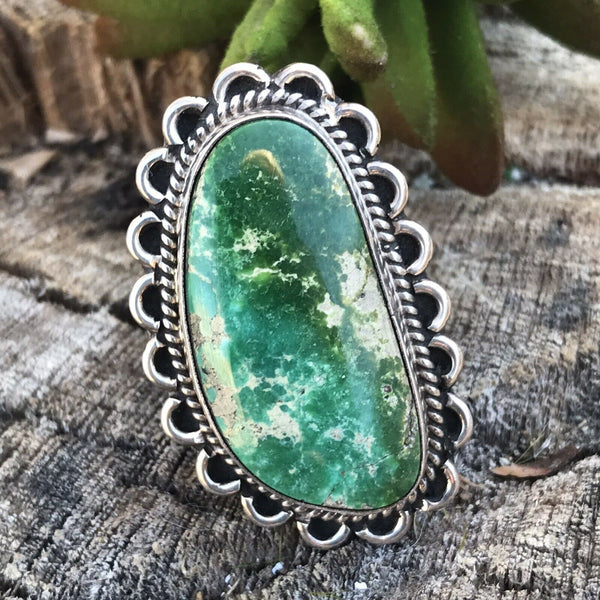 Navajo Royston Turquoise & Sterling Silver ring Size 5.5