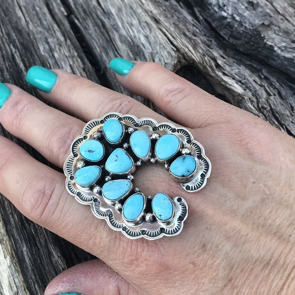 Navajo Golden Hills Turquoise & Sterling Silver  Ring Sz 7