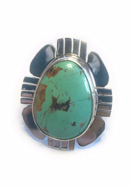 Royston Turquoise & Sterling Silver Navajo Ring Size 8 Stamped Sterling