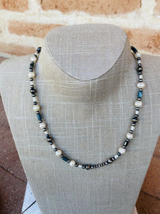 Navajo Natural Pearl, Malachite And Sterling Silver Navajo Pearl Beaded Necklace