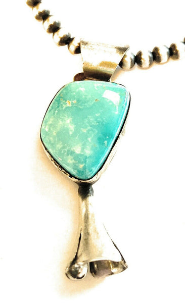 Navajo Handmade Sterling Silver Turquoise Blossom Pendant