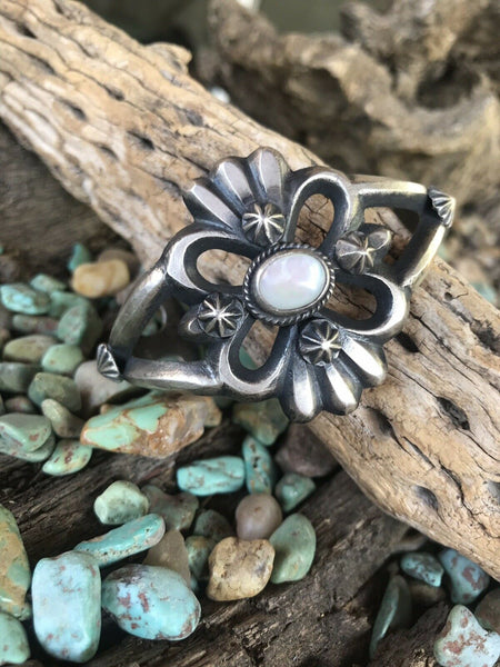 Navajo Spiny Oyster & Sterling Silver Cuff Bracelet By Chimney Butte Signed