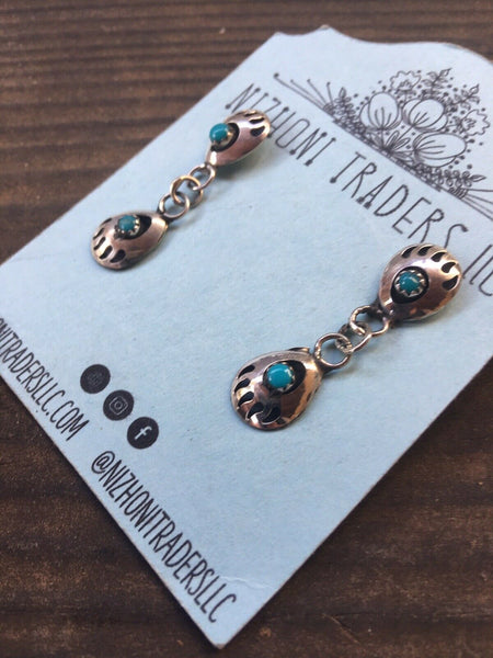 Navajo Sterling Silver & Turquoise Bear Paw Post Dangle Earrings
