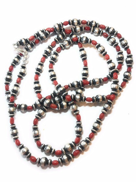 Navajo Sterling Silver & Red Coral Necklace 58 Inches
