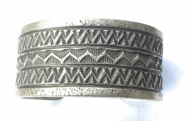 Navajo Sterling Silver Hand Made Cuff Bracelet Signed