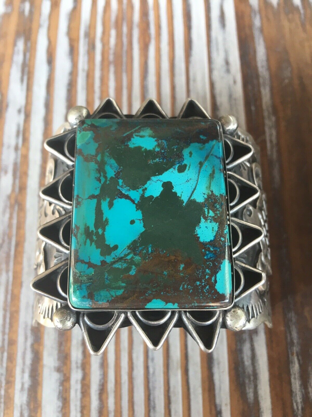 Chimney Butte Navajo Turquoise And Sterling Silver Turtle Cuff Bracelet Signed
