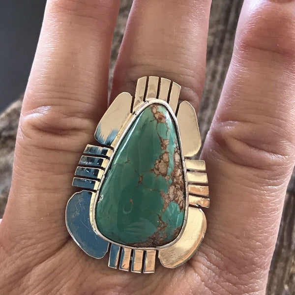 Navajo Royston Turquoise & Sterling Ring Size 7.