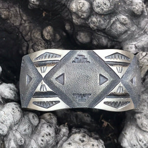 Navajo Sterling Silver Cuff Bracelet Stamped And Signed