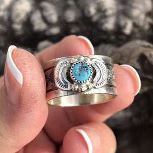 Navajo Sterling Silver Turquoise Cigar Band Rings