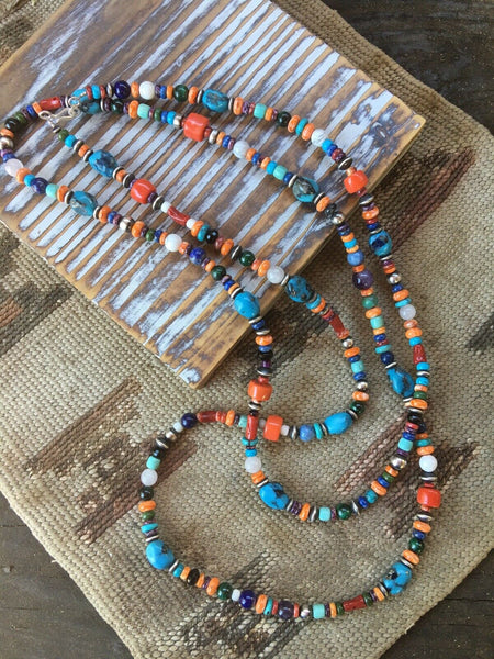 Santo Domingo Multi Stone And Sterling Silver Beaded Necklace