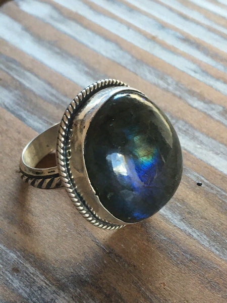 Chimney Butte Labradorite & Sterling Silver Ring Size 5.75 Stamped