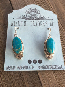 Navajo Sterling Silver & Turquoise Dangle Earrings Signed
