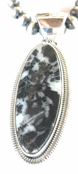 Beautiful Navajo Zebra Jasper & Sterling Silver Pendant Signed