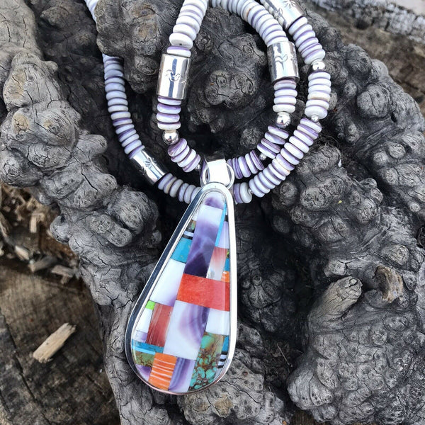 Daniel Coriz Multi Stone And Spiny Oyster Beaded Inlay Necklace