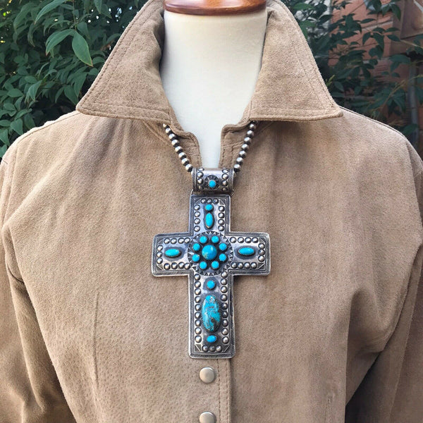 Shawn Cayatenito Sterling Silver & Turquoise Cross Pendant Statement Signed