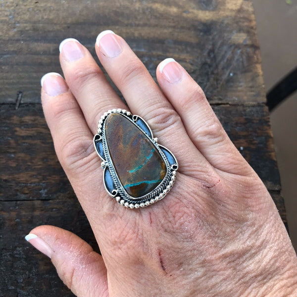 Navajo Ribbon Turquoise And Sterling Silver Ring Size 6.5 Signed