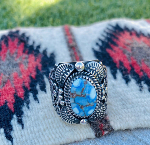 Navajo Sterling Silver & Golden Hills Turquoise Ring Size 13 By Delbert Gordon