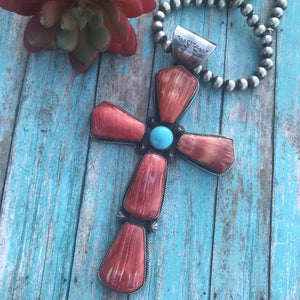 Navajo Sterling Silver Turquoise Spiny Oyster Statement Cross Pendant Signed