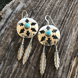 Navajo Turquoise And Sterling Silver Feather Dangle Earrings
