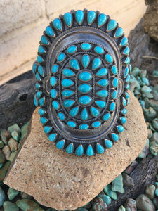 Anthony Skeets Navajo Cluster Turquoise & Sterling Silver Cuff Bracelet Signed