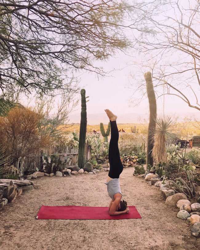 Sara Combs doing yoga in the desert