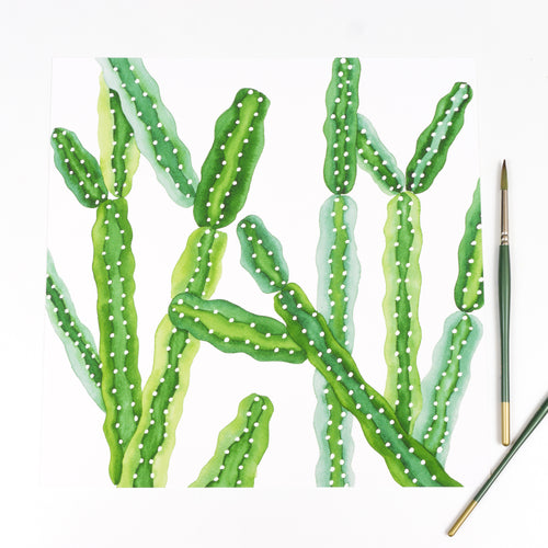 Square Cathedral Cactus Pattern - Watercolor Print
