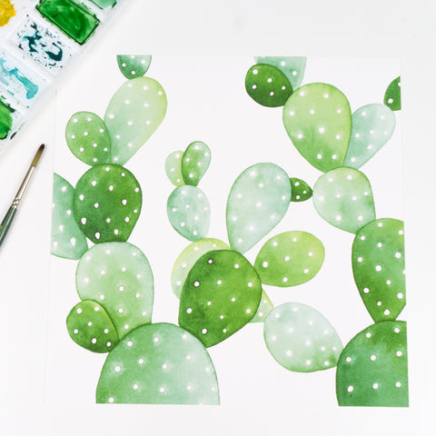 Square Prickly Pear Cactus Pattern - Watercolor Print
