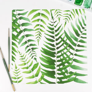 Square Fern Pattern - Watercolor Print