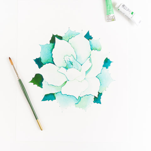 Blue Agave Succulent Watercolor Print By Kira Gulley