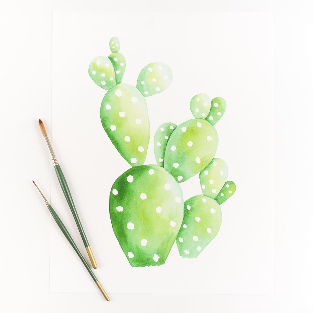 Prickly Pear Cactus Watercolor Print By Kira Gulley
