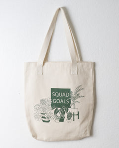 Cotton Tote Bag with Monstera and Banana Leaf Plants