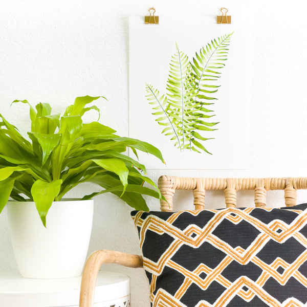 Western Narrow Leaf Sword Fern Plant Painting